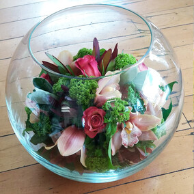 Flowers in Glass Bowl - $100