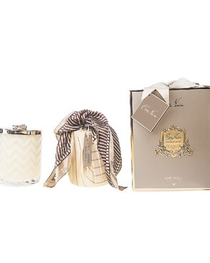 COTE NOIRE - HERRINGBONE CANDLE WITH SCARF - GREY