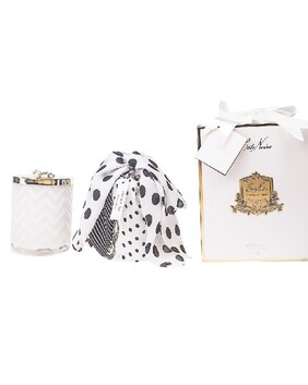 Cote Noire- Herrigbone Candle with Scarf - White