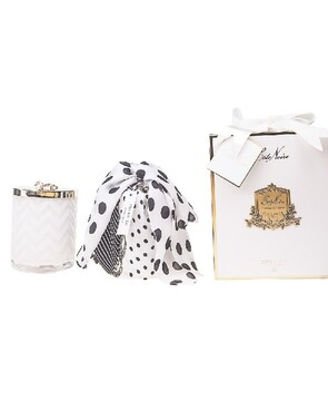 Cote Noire: WHITE Herrigbone Candle with Scarf