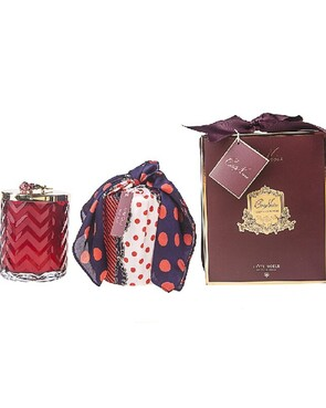 Cote Noire - RED Herringbone Candle with Scarf